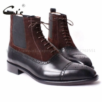 cie Free shipping custom bespoke handmade calf leather upper inner outsole Square toe semi brogue lace up boot brown/black A65