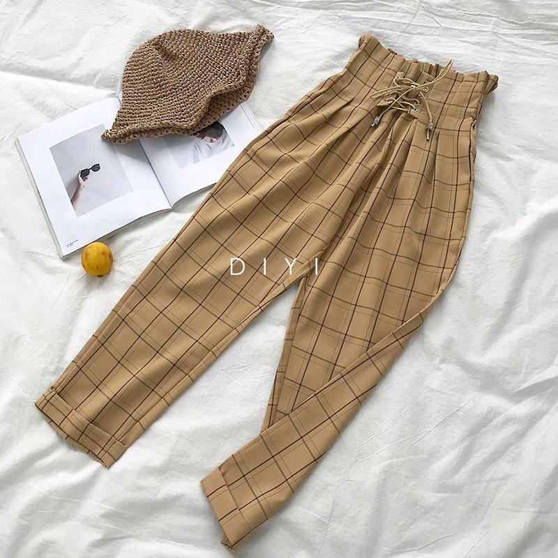 CamKemsey Japanese Harajuku Casual Pants Women 2019 Fashion Lace Up High Waist Ankle Length Loose Plaid Harem Pants 31