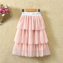Girls Long Skirt For 2-12Years Big Children Girls Clothes Skirt 3-Layer Cake Pleated Skirts Teenage Girls Skirts Summer Casual цена