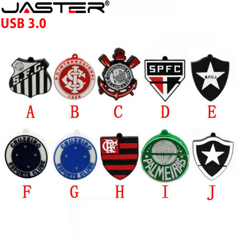 Personalized Pen Drive 64gb 128gb 8gb 4gb U Disk 3.0 Cartoon Soccer Team Badge Usb Flash Drive 32gb Pendrive 16gb Free Shipping