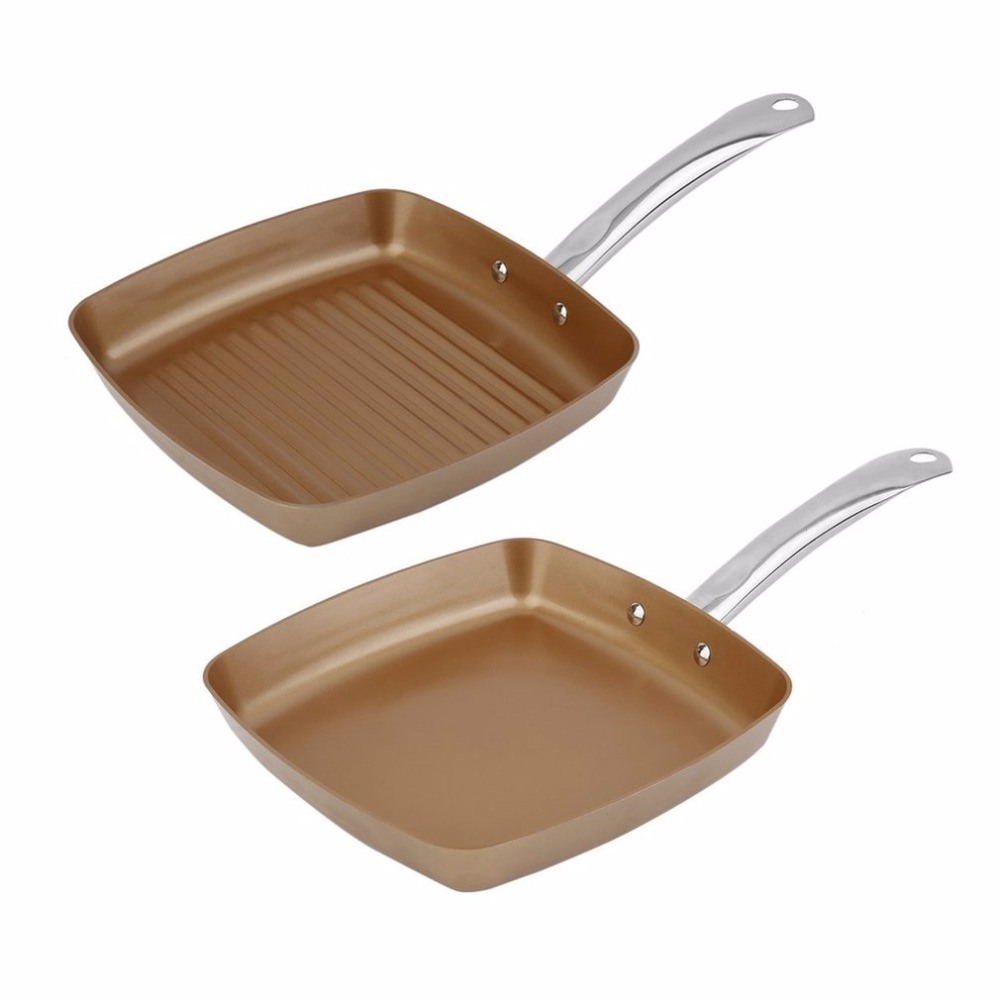 PREUP 2pcs Copper Coating Bottom Frying Pans Non-Stick Square Grill Pan Multifunction Cookware Set Kitchen Cooking Tools