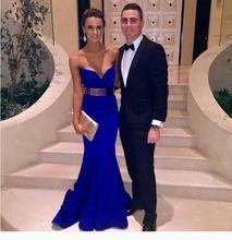 2017 Sexy Abendkleid Abendkleid Mermaid Royal Blue Schatz Satin mit Gürtel Neue Ankunft Preiswerte Lange Abschlussball-kleider Party kleid