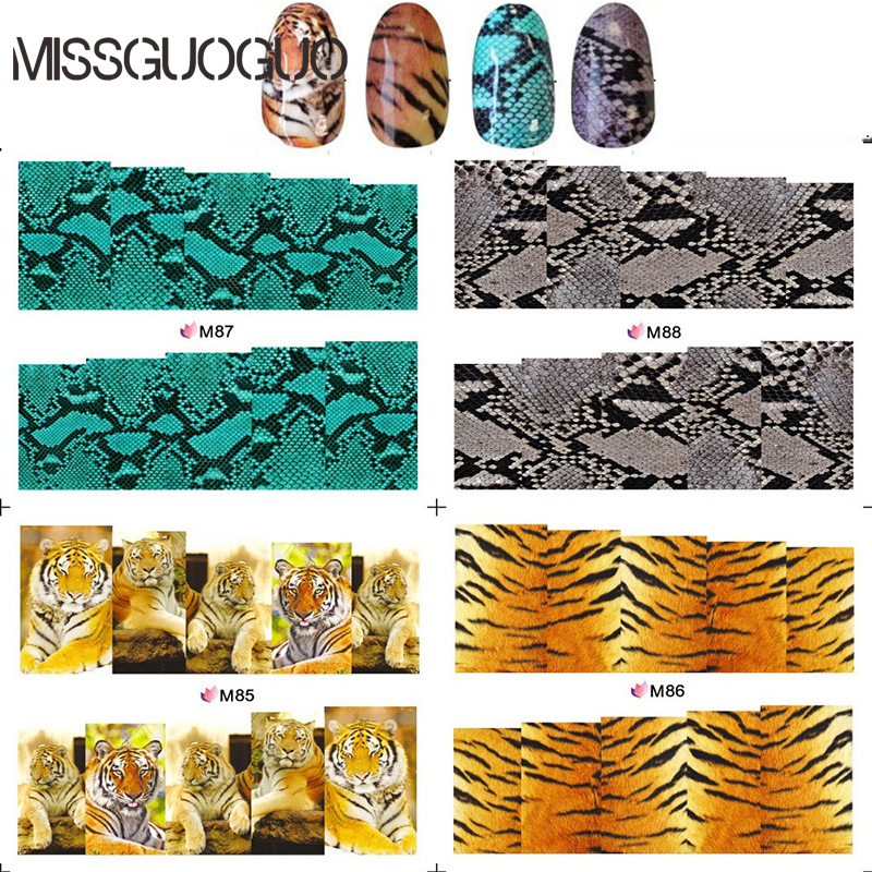 BLEM85-88 Water decal full cover Nail Stickers Real Tiger Snake skin design nail sticker For nail decals decorations 2 pcs 1 pair colorskin sticker cool sword design led light skin decal for ps4 controllers led sticker for ps4 skin stickers