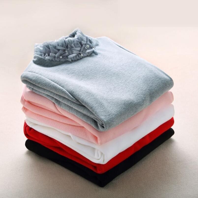 2-13 Years School Girl Blouse Thick Winter Fall Children Kids Shirts Baby Toddler Teen Long Sleeve Turtleneck Girls Tops JW1059B