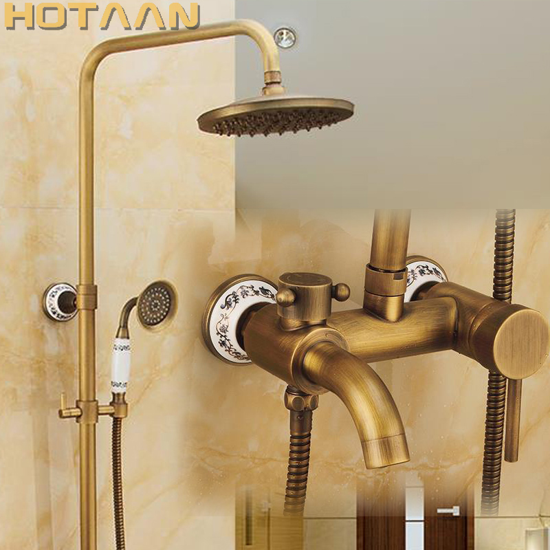 Antique Brass Wall Mounted Mixer Valve Rainfall Shower Faucet Complete Sets 8 Brass Shower Head Hand