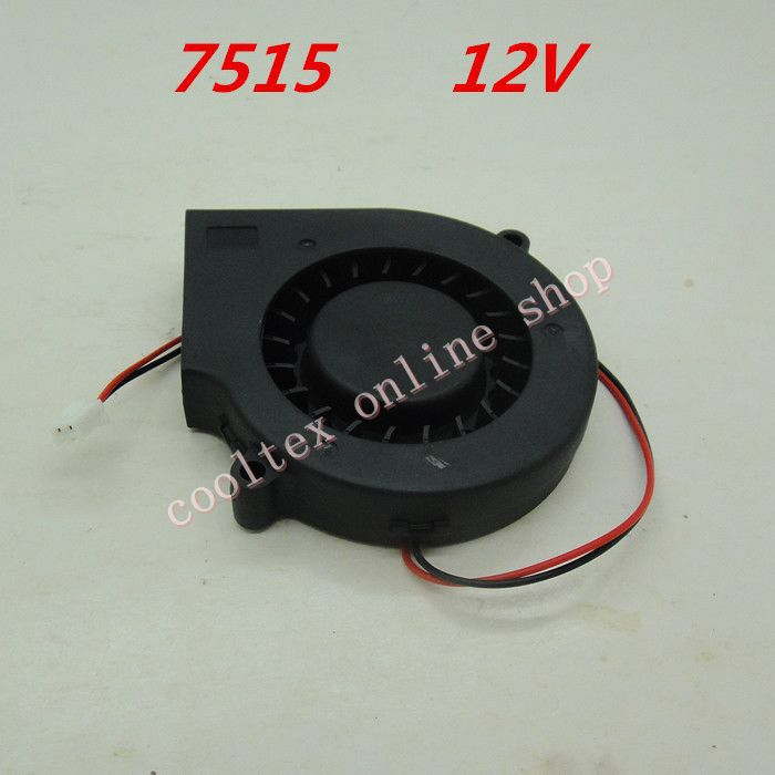 10pcs/lot  7515  blower Cooling  fan 12 Volt  Brushless DC Fans centrifugal  Turbo Fan  cooler  radiator 5pcs 5015 cooling turbo fan 12v brushless parts 2pin for makerbot reprap prusa cooler blower 50x50x15 3d printer part plastic dc