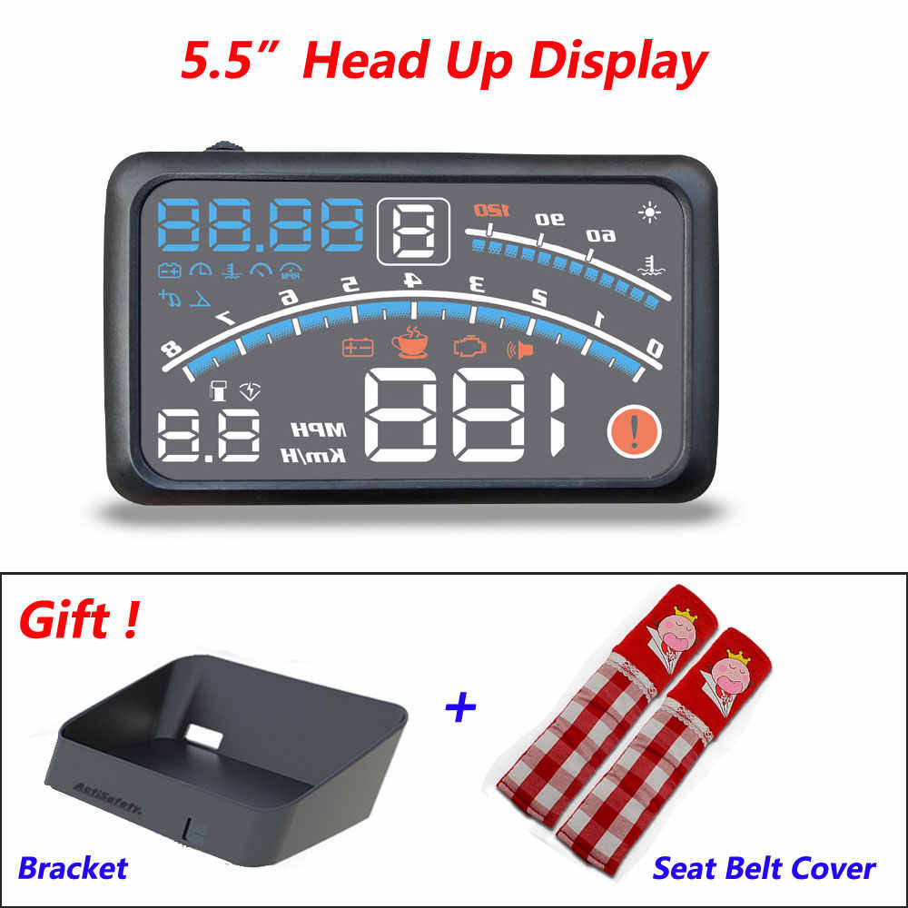 "4E 5.5"" Car OBD2 II EUOBD Car HUD Head Up Display Overspeed Warning System Projector Windshield Auto Electronic HUD Car"
