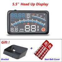 4E 5.5 Car OBD2 II EUOBD Car HUD Head Up Display Overspeed Warning System Projector Windshield Auto Electronic HUD Car