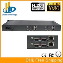 DHL Frete Grátis Em Rack 1U de 4 Canais de Áudio e Vídeo HDMI De Streaming Codificador H.264 IPTV Com HTTP/RTSP/RTMP/Protocolo UDP