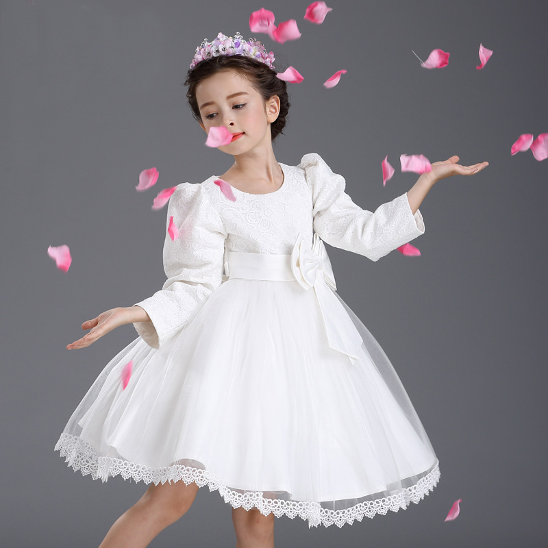 Őszi hercegnő fél fehér menyasszonyi ruhák gyerekek csípős íj - Gyermekruházat - Fénykép 4