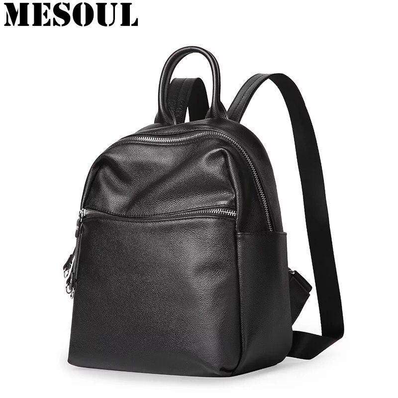 New Arrivals Genuine Leather Backpacks Women Travel Bag Solid Simple Casual Daily Shoulder Backpack Black Bagpack Female 2017 2015 new casual women backpack female pu leather women s backpacks bagpack bags travel bag back pack free shipping