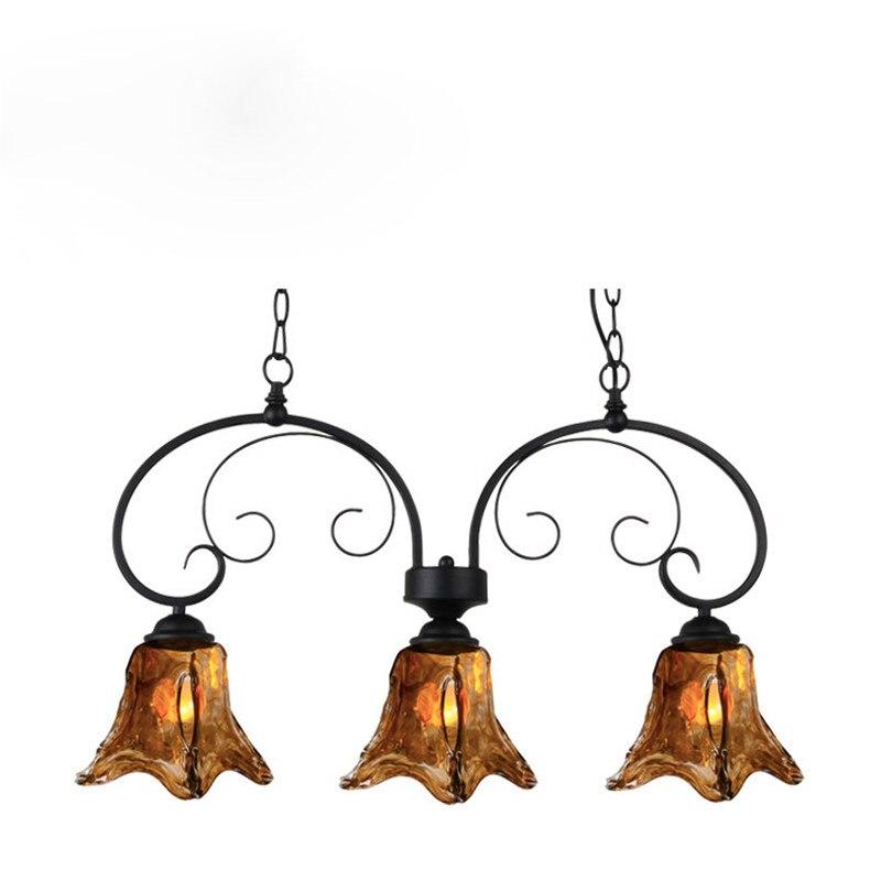 Mediterranean Style Lighting: Mediterranean Style Pendant Light Antique Metal Glass Lamp