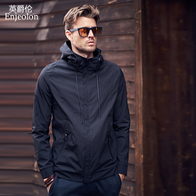 Enjeolon brand 2017 winter fall Bomber casual jackets men, black solid coats male, stand collar Jacket clothes JK0324 enjeolon brand new arrive motorcycle leather jackets men autumn winter clothing zipper stand collar male casual black coats