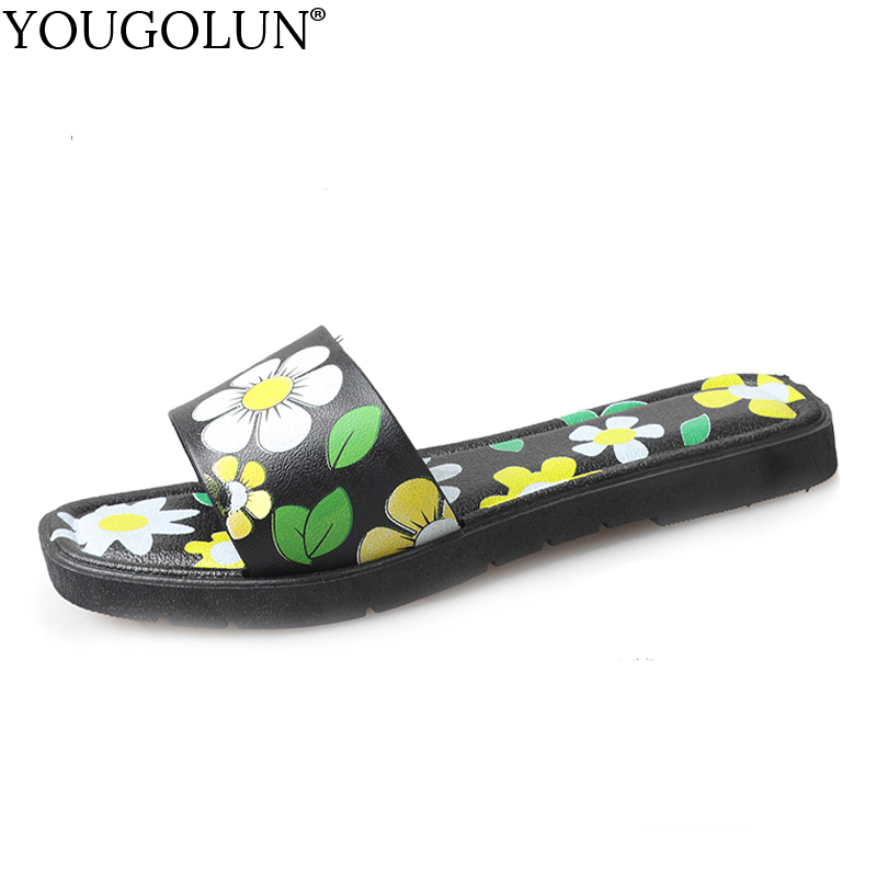 YOUGOLUN Women Slippers Summer Flowers Sandals New 2018 Sexy Woman Flat Slides Elegant ladies White Green Open toe Shoes #A-141 new fashion big pearls beaded woman flat shoes 2017 sexy open toe sandal crystal embellished slides