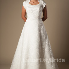 cecelle Vintage A-line Wedding Dresses With Cap Sleeves