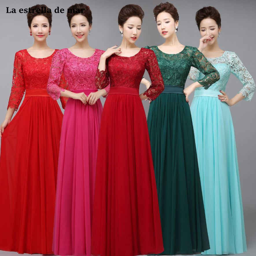 Robe Demoiselle D'honneur  New Lace Chiffon Half Sleeve A Line Royal Blue Green Purple Turquoise Bridesmaid Dresses Long