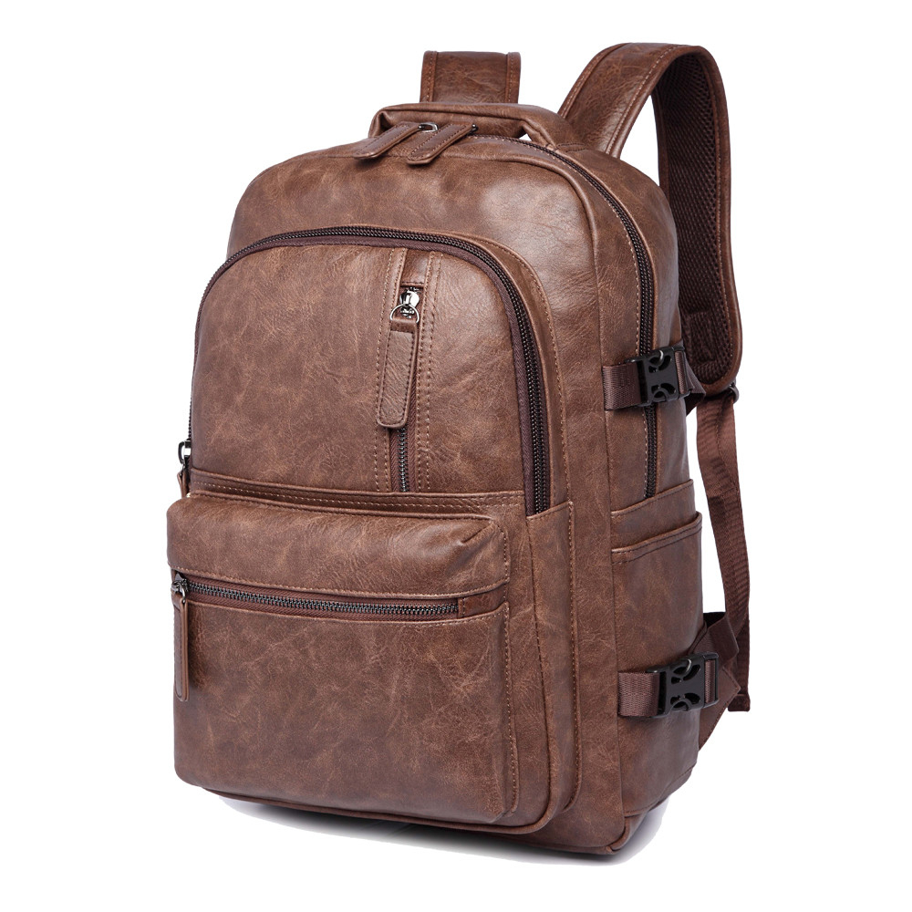 2017 Brand Preppy Style Leather School Backpack Bag For College Simple Design Men Casual Daypacks mochila male New