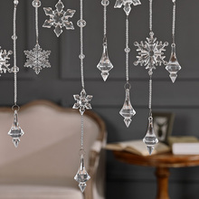 Pure handmade Clear Snowflake Crystal Bead Curtain Home Decoration Windows Porch Partition Door Good glass octagon beads