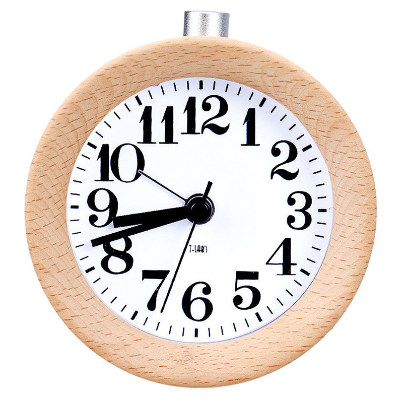 Creative Small Round Classic Wood Silent Desk Travel Alarm Clock Nightlight New