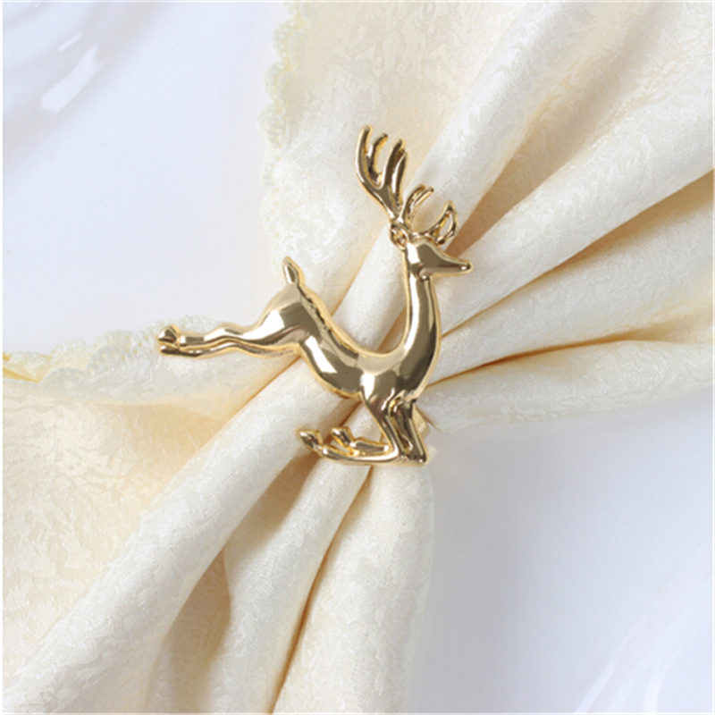 Hot Christmas DeerAlloy Napkin Buckle Wedding Party Napkin Ring Holder Desktop Decoration Elk Napkin Ring
