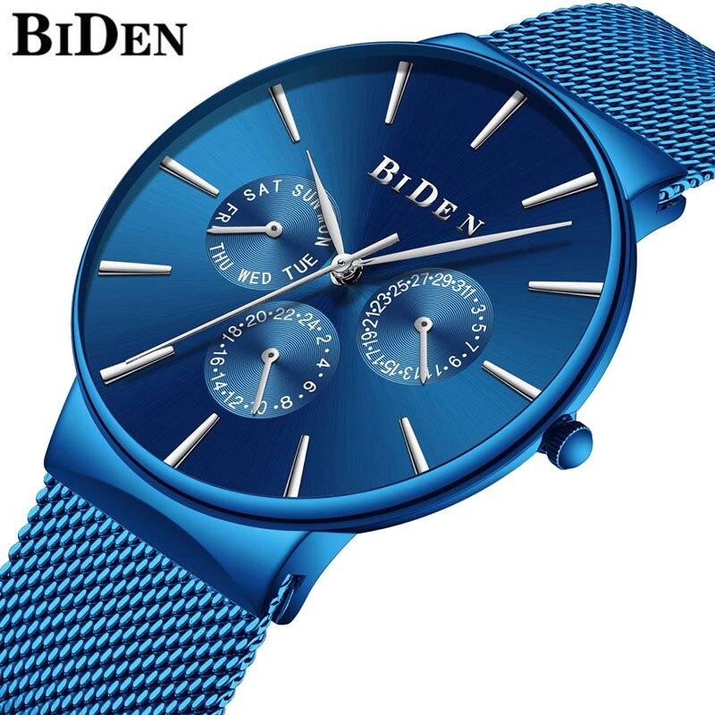 Luxury Watch Men Fashion Blue Ultra Thin Quartz Watch For Men Stainless Steel Waterproof Man Sport Watch Wrist Relogio Masculino|Quartz Watches|Watches - title=