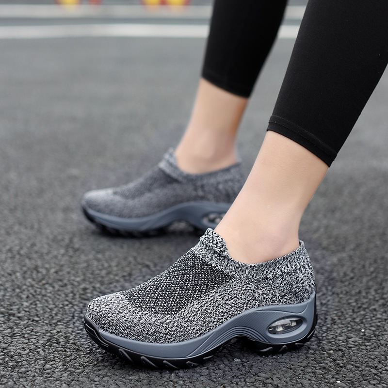 2019 NEW Women Shoes Air Cushion Flying Fashion Sneakers Flat Platform Shoes Woman Breathable Slip-On Round Toe Plus Size 35-42
