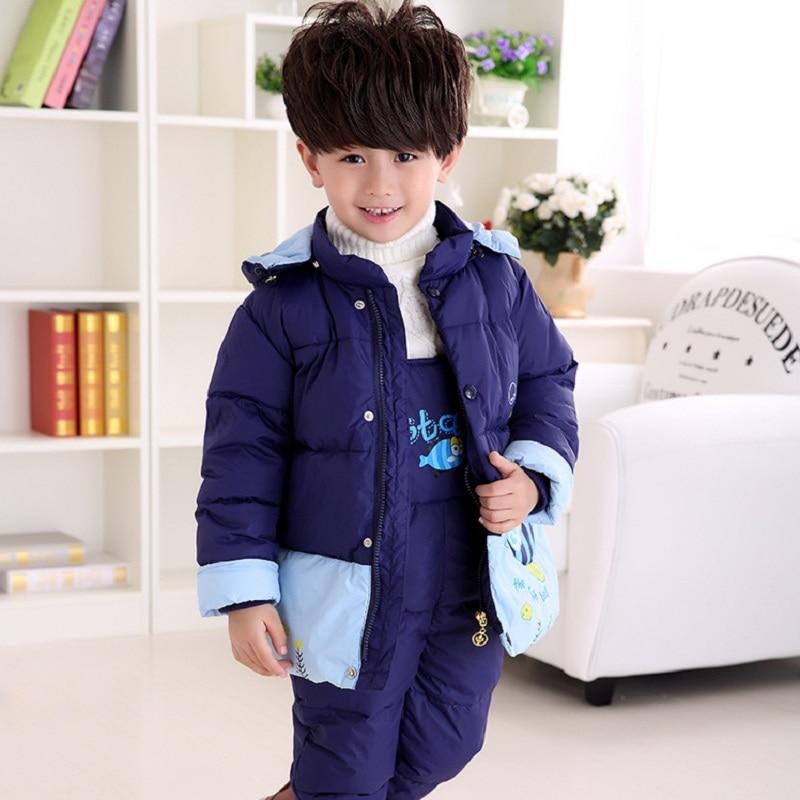 Зимняя одежда для малышей Детская пуховая куртка и Штаны детский зимний комплект 0-3years лет Детская одежда для маленьких девочек и пальто для...