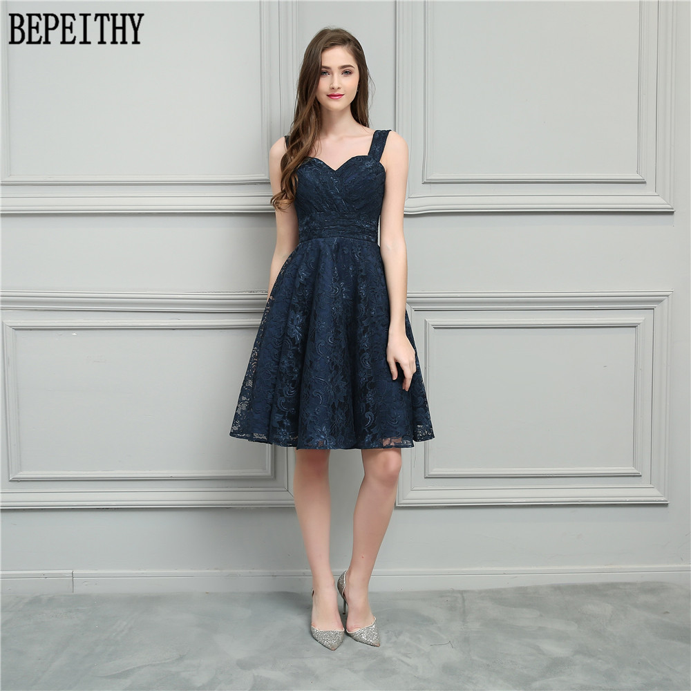 BEPEITHY Vestido De Festa 2018 New Design Longo Sweetheart Navy Blue Lace A-Line Short Prom Dresses Bridesmaid Dresses