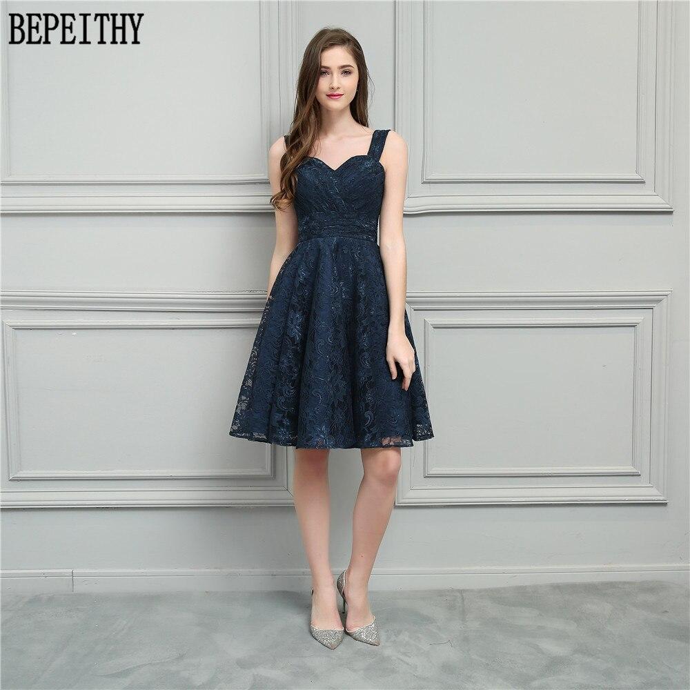 BEPEITHY Vestido De Festa 2019 nouveau Design Longo chérie bleu marine dentelle une ligne courte robes De bal robes De demoiselle d'honneur