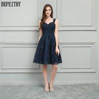 BEPEITHY Vestido De Festa 2018 New Design Longo Sweetheart Navy Blue Lace A Line Short Prom