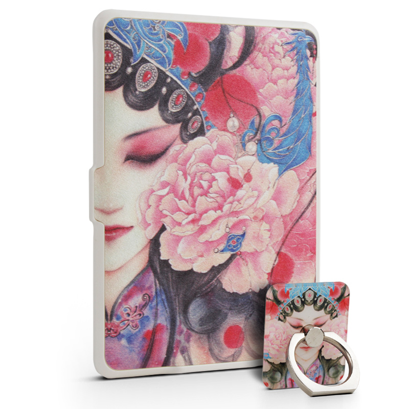 NEW Fashion Opera Facebook Leather Cover Case Stand for Amazon Kindle Paperwhite 1/2/3  6inch With  Ring Holder walnew leather case for amazon kindle paperwhite 6 inch e book cover fits all versions 2012 2013 2014 and 2015 all new 300 ppi