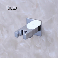 TULEX Shower Accessories Square Chrome Bathroom Brass Wall Connector Bracket with Shower Head Holder bathroom Faucet Accessories