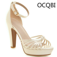 Womens Ankle Strap Sandals High Chunky Heel Shoes Party Evening Platform Size33 Silver Plus Size