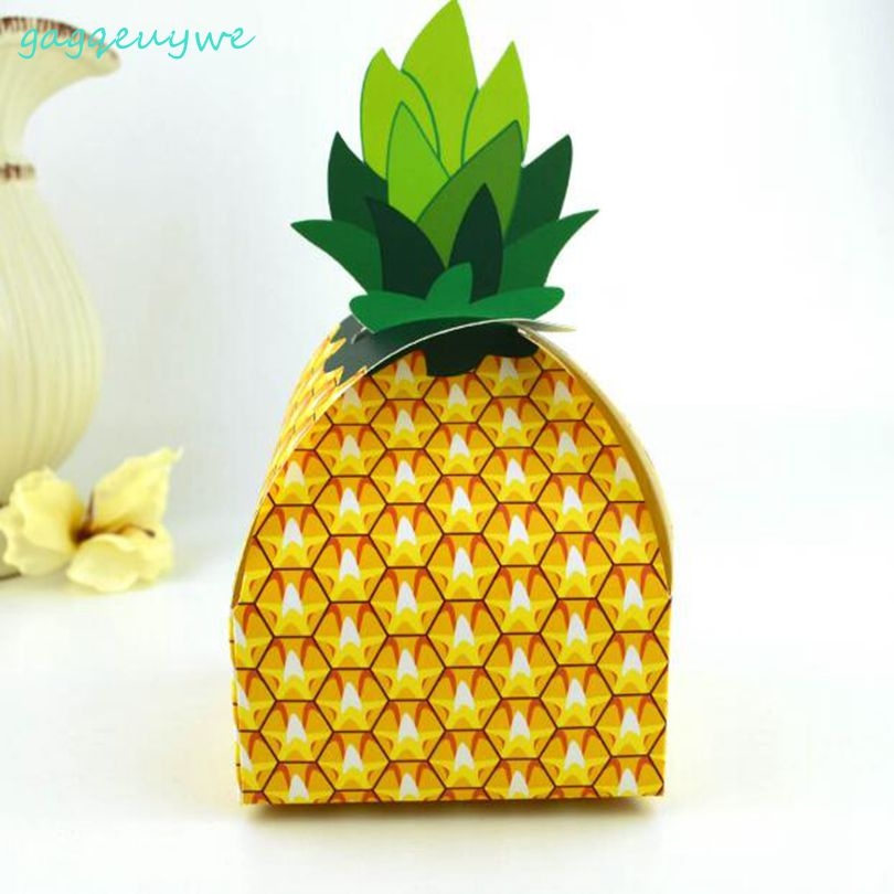 100pcs 2018 new creative pineapple candy box Hawaiian celebration party candy box Wedding Supplies size 9