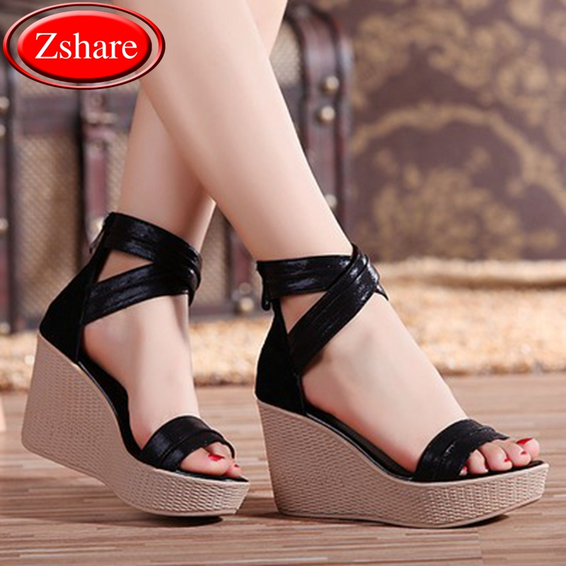 2019 New classic Non slip Wedge women sandals fashion high heel summer Rome sandals women solid color zipper 34 41 size in High Heels from Shoes