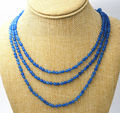 "NEW Fine jewelry 17-19 ""3 rows faceted 4mm blue Jade bead Necklace AAA"