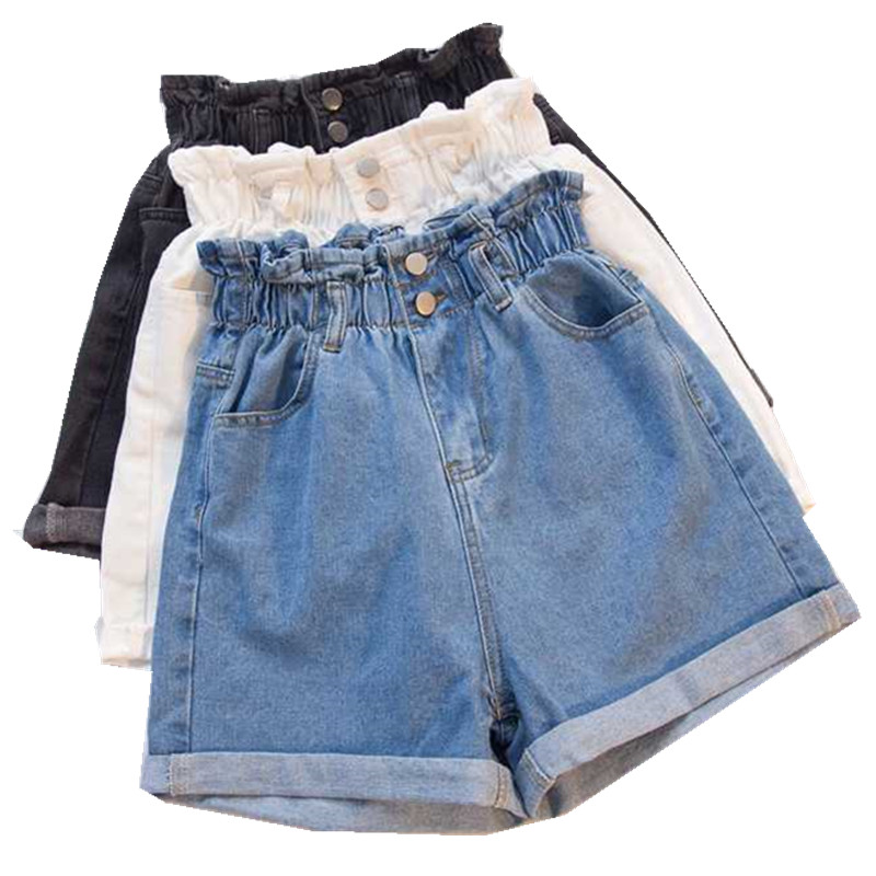 G1020 Women's Summer Wear 2019 New Fashion Plus-size Elastic-waisted Loose-fitting High-waisted Hot Denim Shorts Cheap Wholesale(China)