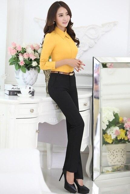 Novedad Amarillo Estilo Trajes de Ropa de Trabajo Femenina Tops Y Pantalones de Uniforme de Gala 2015 Negocios Otoño Primavera Camisas Para Damas Pantalones Set