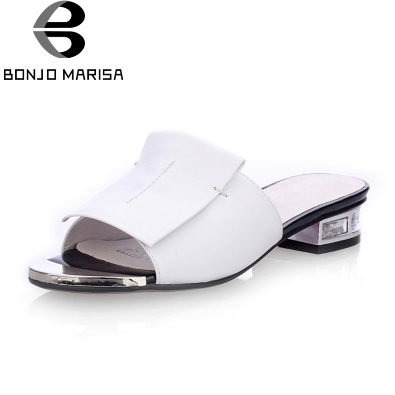 BONJOMARISA 2018 Summer Fashion Sewing Genuine Leather Slippers Women Big Size 34-43 Low Heels Slides slip-on Casual Shoes Woman 2015 new big size sexy high heel slipper women fashion woman slippers summer platform slides brand soft pu slip on lady slippers page 1