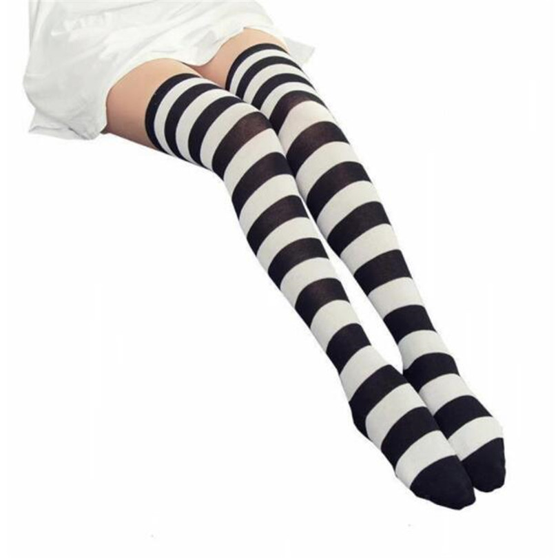CUHAKCI STOCKINGS Women Girls Cotton Long Striped Thigh High Stocking Anime Strip Zebra Cosplay Tights Over Knee Socks 1 Pair
