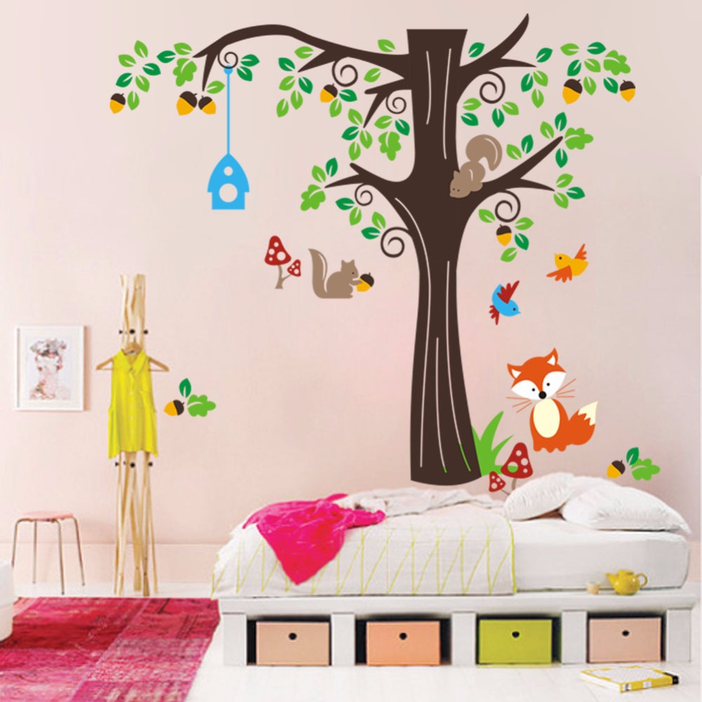 Large size tree with animal cartoon wall stickers for kids rooms large size tree with animal cartoon wall stickers for kids rooms forest fox squirrel mushroom stickers diy wallpaper home decor in wall stickers from home amipublicfo Images