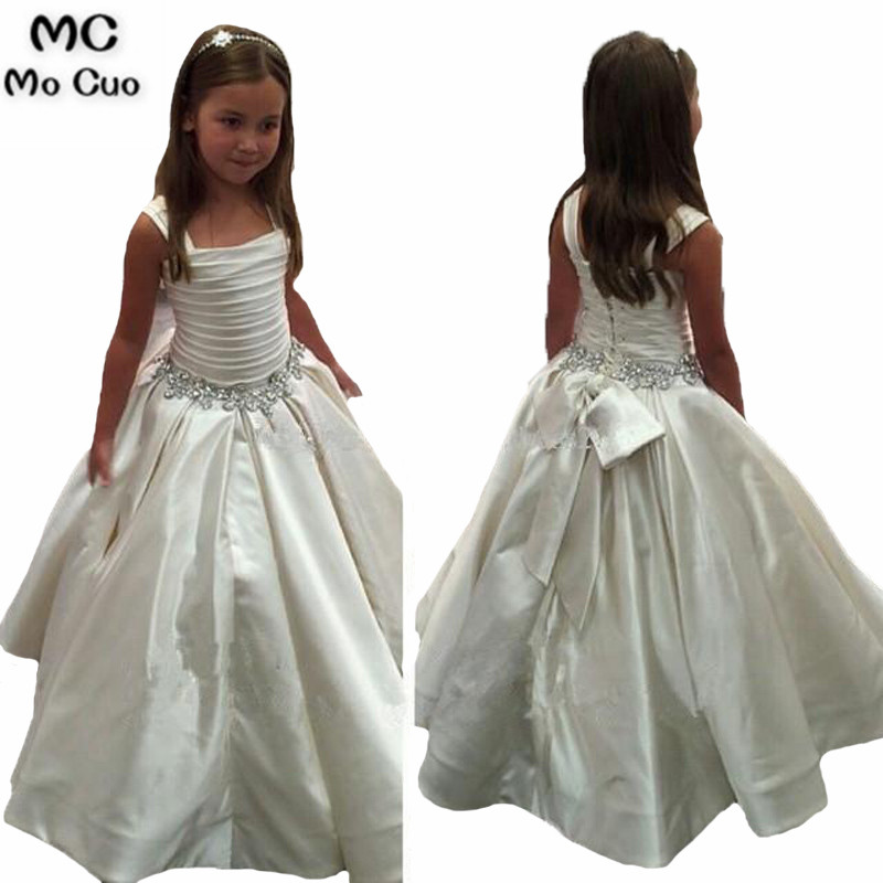 2018 Gorheous Ivory first communion   dresses   for   girls   Beaded Birthday   Girls   Pageant Gowns   flower     girl     dresses   for weddings
