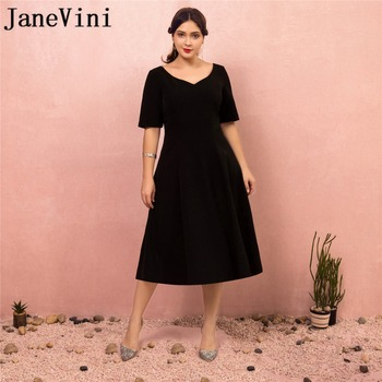 JaneVini Vestidos Simple Black Mother of Bride Dresses With Sleeves V Neck Zipper Back Satin Tea-Length Evening Gowns For Women