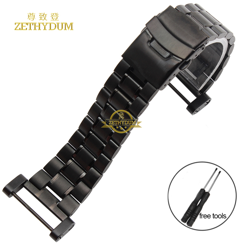 Stainless steel Watchband solid metal watch bracelet strap Double insurance buckle silver black width 24mm for SUUNTO CORE tools suunto core brushed steel