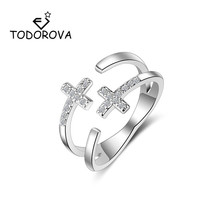 Todorova Double Layer Cross Dazzling Cubic Zirconia Adjustable Rings for Women Wedding Fashion Men Jewelry