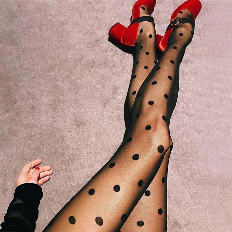 Fashion Sexy Women Lace Core Wire Jacquard Thin Black Silk Stockings Slim Tights Dot Tights Street Style