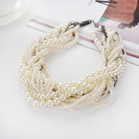 Fashionable Luxury Vintage Pearl Big Necklace Style Jewellery Multi Layer String Twist Faux Choker Women Necklaces