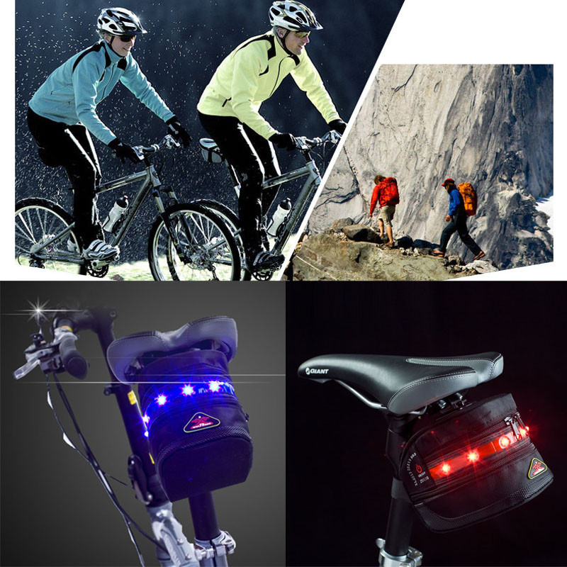 world-wind#3011 Cycling Bike Bicycle Saddle Seat Bag Pouch 7 LED Tail Light Lamp Outdoor  free shipping generic 2 3 5l bicycle saddle bag cycling rear bag