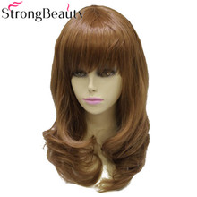 Silná krása syntetická kudrnatá dlouhá střední kaštanová paruka tepelně odolná dámská paruka plné vlasy