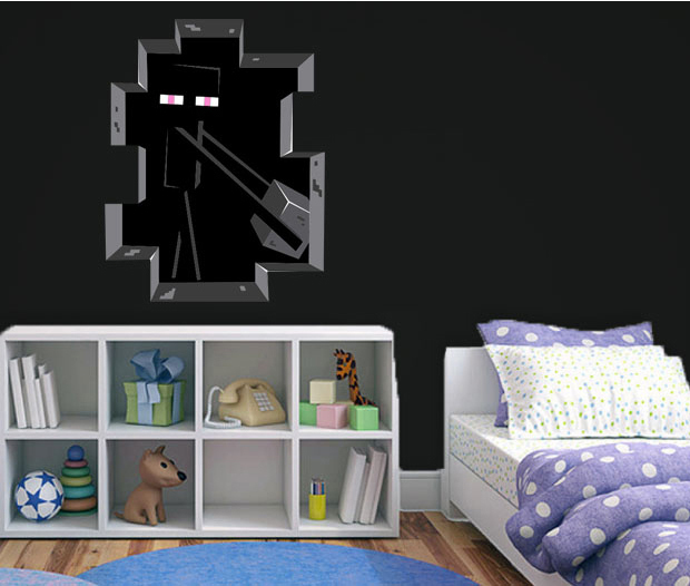 3d Minecraft Style Wall Decal Poster Sticker Room Bedroom Decor ...